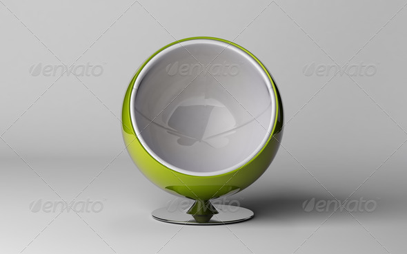 3d render of a modern chair isolated on white  - Stock Photo - Images