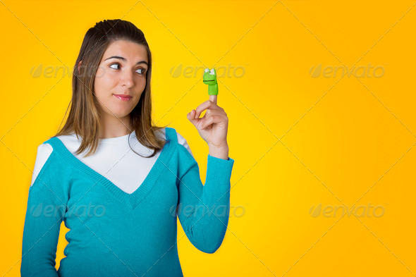 Woman with puppets - Stock Photo - Images
