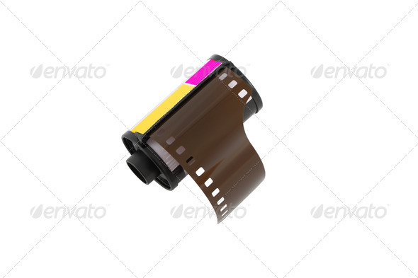 Camera negative film roll on white background. - Stock Photo - Images