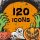 120 Halloween Doodle Icon S-Graphicriver中文最全的素材分享平台
