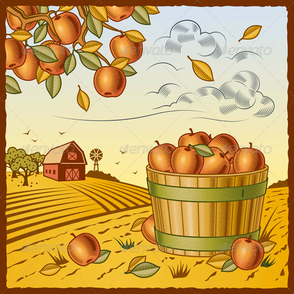 Landscape With Apple Harvest - Landscapes Nature