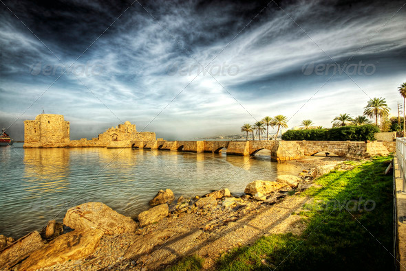 Crusader Sea Castle, Sidon (in Lebanon) - Stock Photo - Images