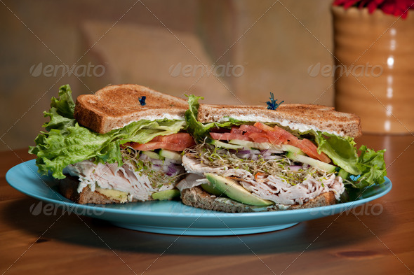 Turkey Avocado Sandwich on wheat - Stock Photo - Images