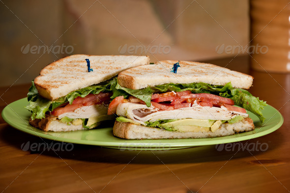 Turkey Avocado Sandwich - Stock Photo - Images