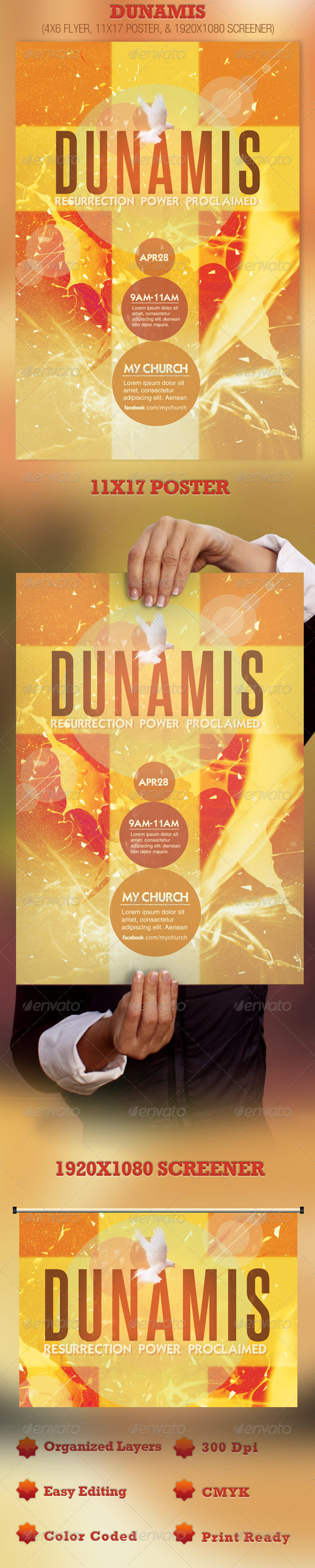 Dunamis Flyer, Poster and Screener Template - Church Flyers