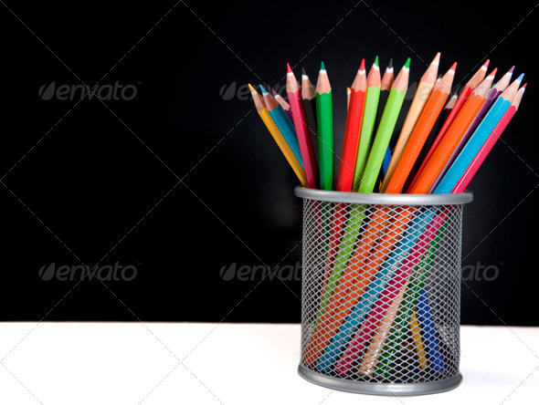 Colour pencils in the basket - Stock Photo - Images