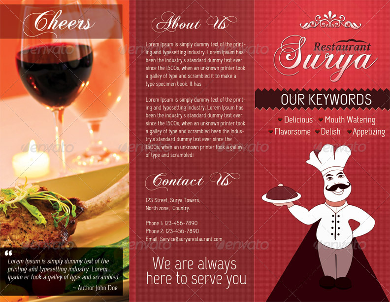 Restaurant Menu Card - TriFold
