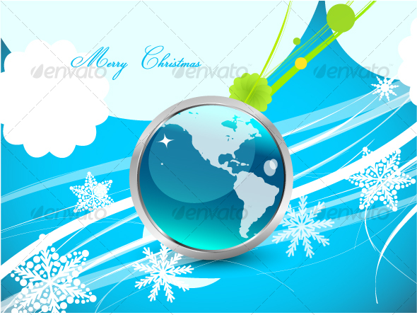 Original blue Christmas design with globe GraphicRiver - Vectors -  Conceptual  Seasons/Holidays  Christmas 69181