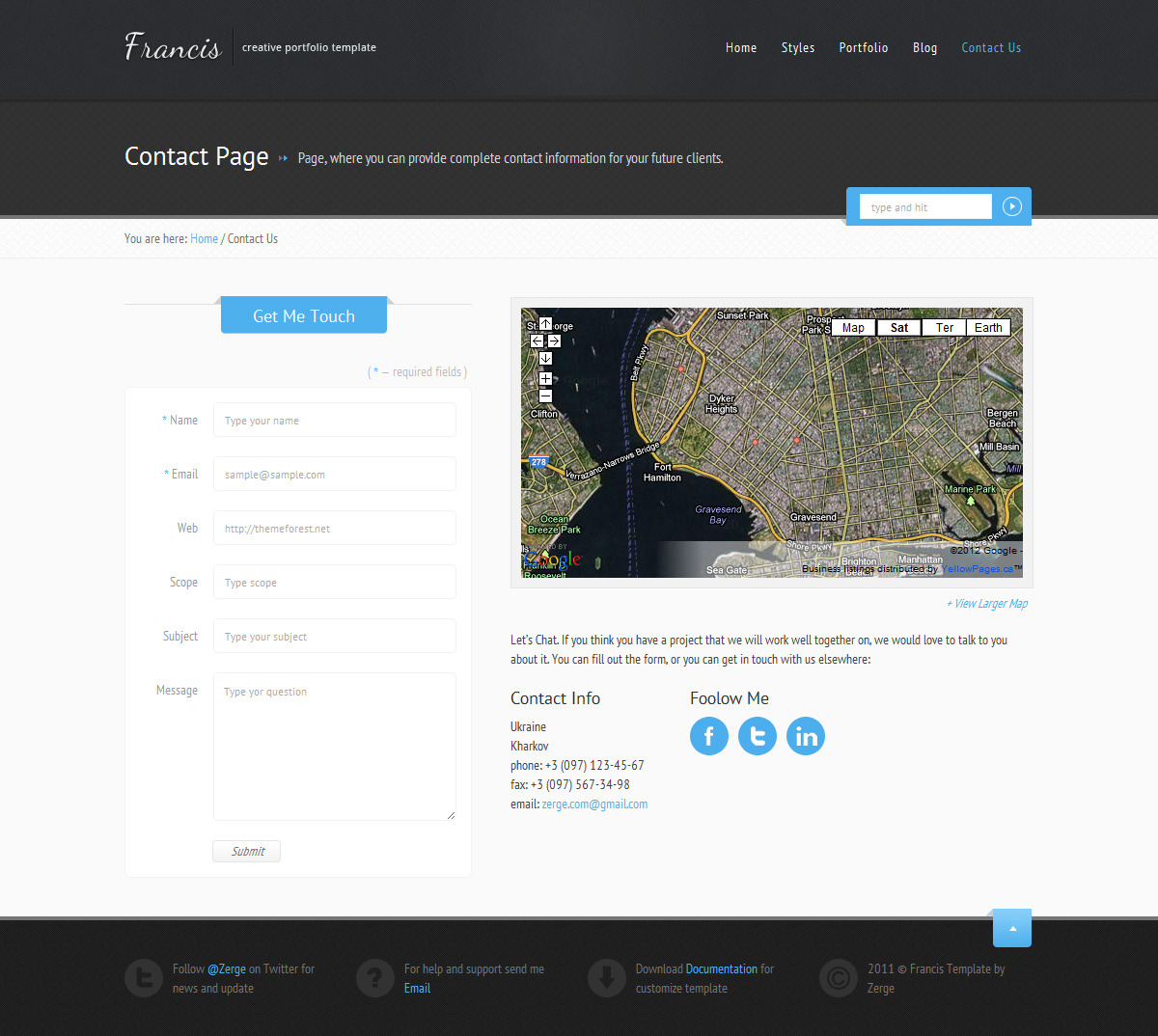 Francis - HTML5 CSS3 Template - Contacts Page
