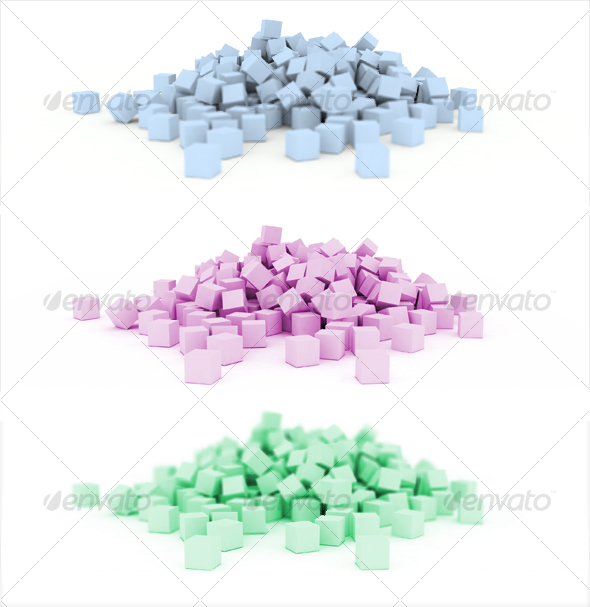 3D scattered cubes - 3D Backgrounds