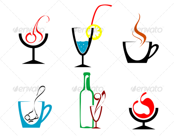 GraphicRiver Set of beverages and drinks symbols 69442