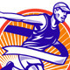 Male Marathon Runner Running Retro Woodcut - GraphicRiver Item for Sale