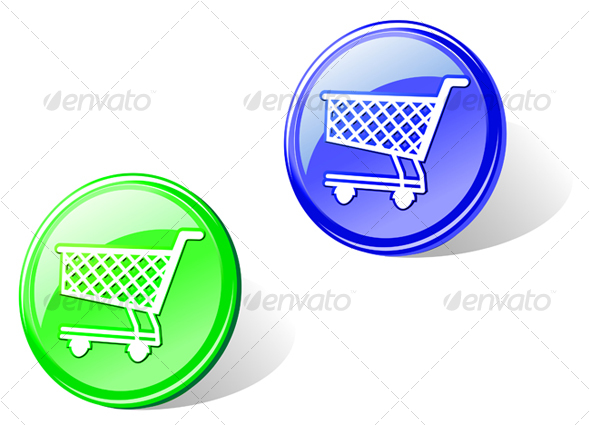 shopping cart icon. Glossy shopping cart button