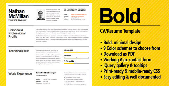 Bold - CV / Resume Template - Minimal & Smart - Resume / CV Specialty Pages