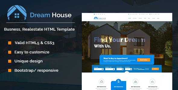 Dream House Real Estate Html Template Business Corporate