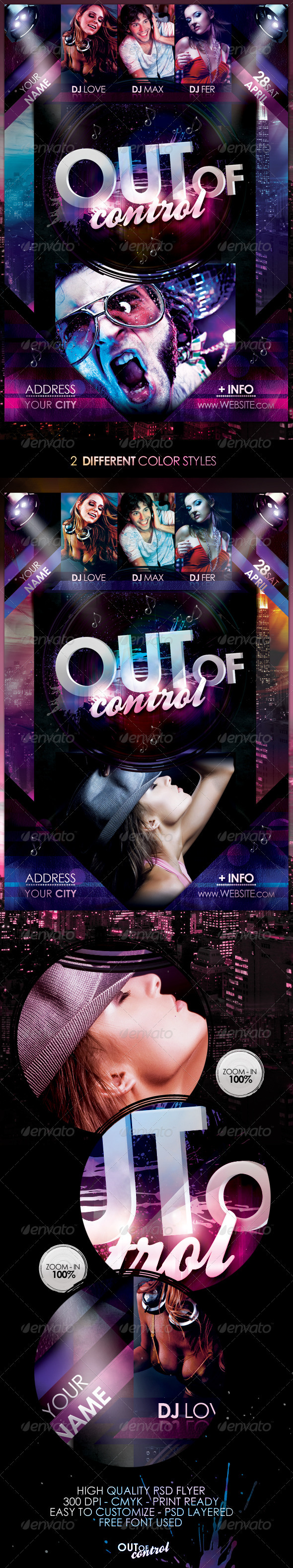 Out Of Control Flyer Template - Flyers Print Templates