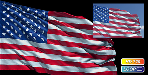 Stock Video - VideoHive Realistic USA flag 210784