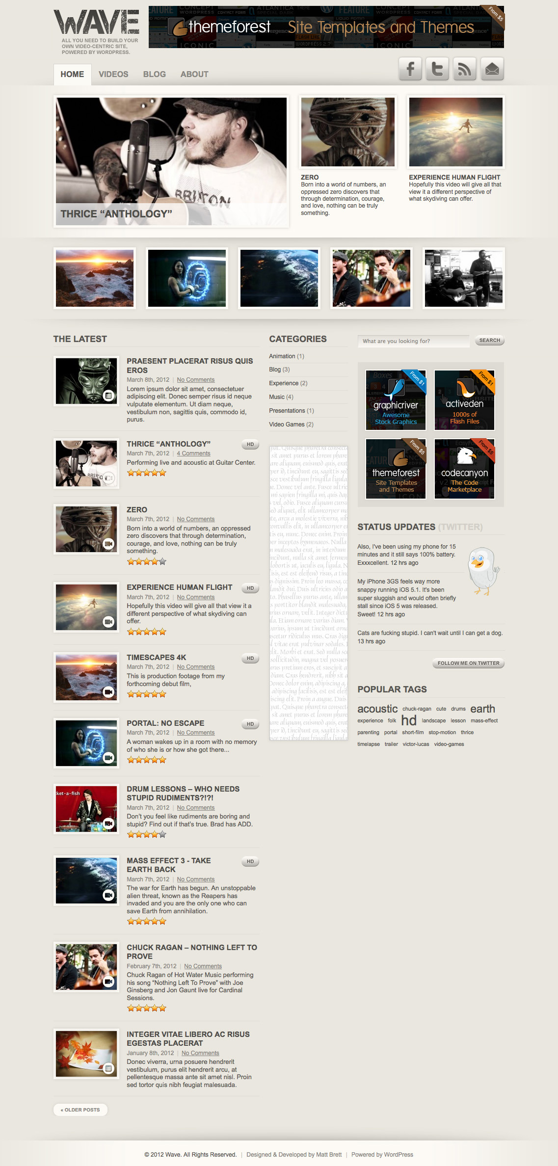 "Wave: Video Theme for WordPress - Alternate style with ""grunge"" textures removed."