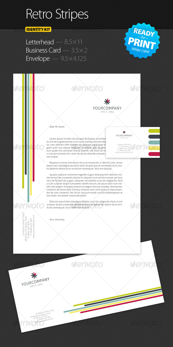 Retro Stripes - Identity Kit - Stationery Print Templates