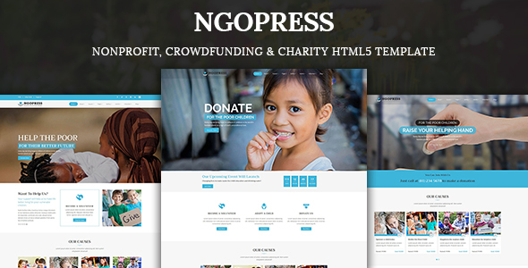 ngopress nonprofit crowdfunding charity html5 template by kodesolution. Black Bedroom Furniture Sets. Home Design Ideas