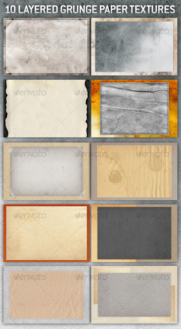 GraphicRiver 10 Layered Grunge Paper Backgrounds 70241