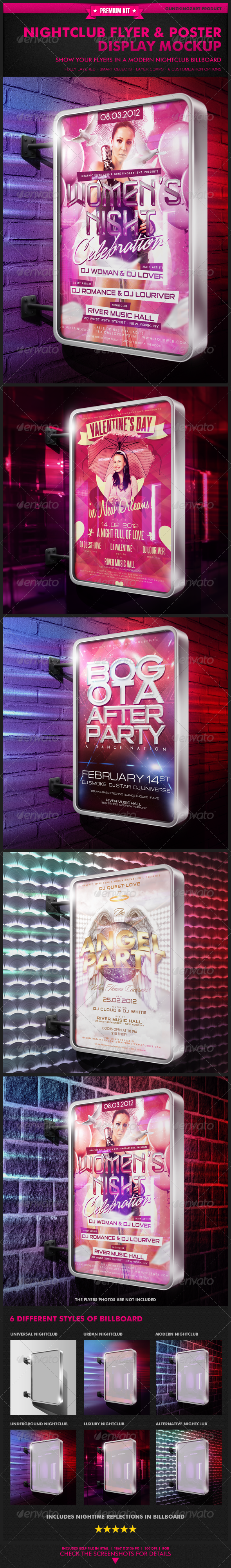 Nightclub Flyer & Poster Display Mockup - Flyers Print