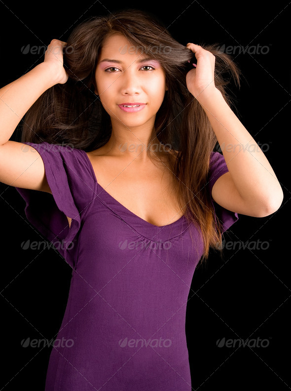 Beautiful Brunette Lady Posing in a Purple Dress - Stock Photo - Images
