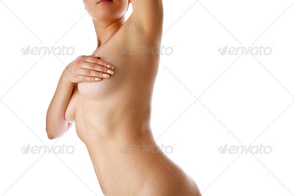 Woman holding her breast - Stock Photo - Images