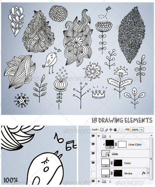 18 Drawing Elements - Decorative Graphics