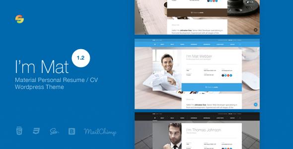 I Am Mat - Material Personal Resume / Cv Vcard Wordpress Theme By