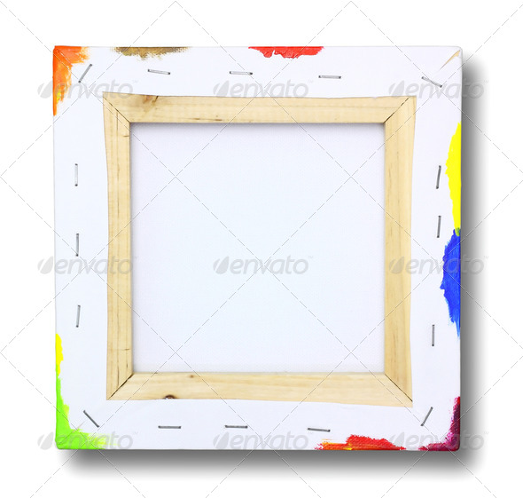 Square canvas on a stretcher, acrylic paint on edge isolated on - Stock Photo - Images
