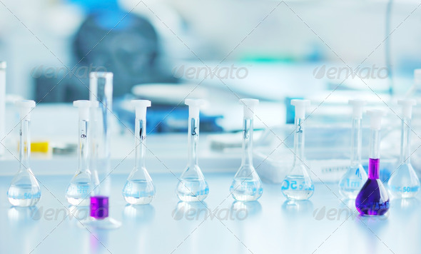 test tubes in bright modern labaratory - Stock Photo - Images