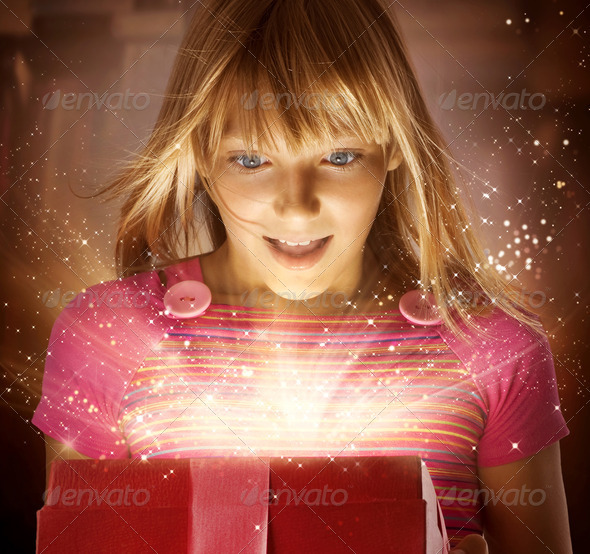 Happy Kid with Gift - Stock Photo - Images