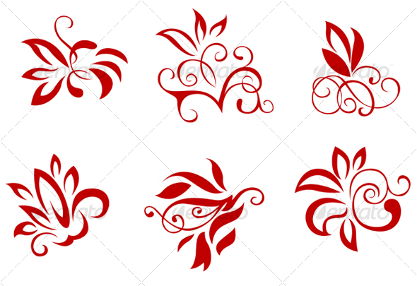 Floral and flower decorations - Decorative Vectors