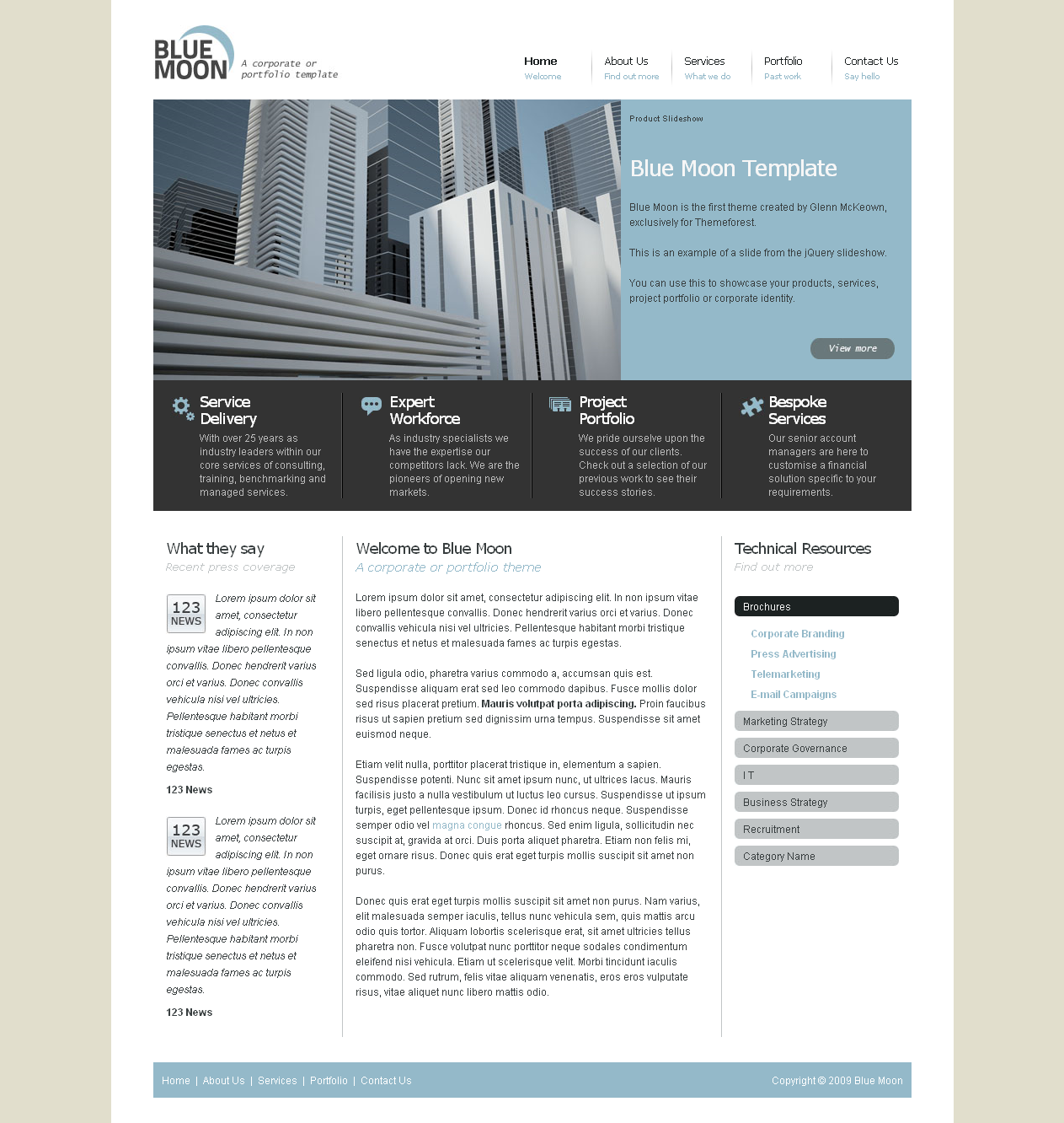 Blue Moon - A Corporate or Portfolio template