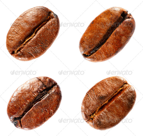 Coffee beans isolated on white background. Set. - Stock Photo - Images