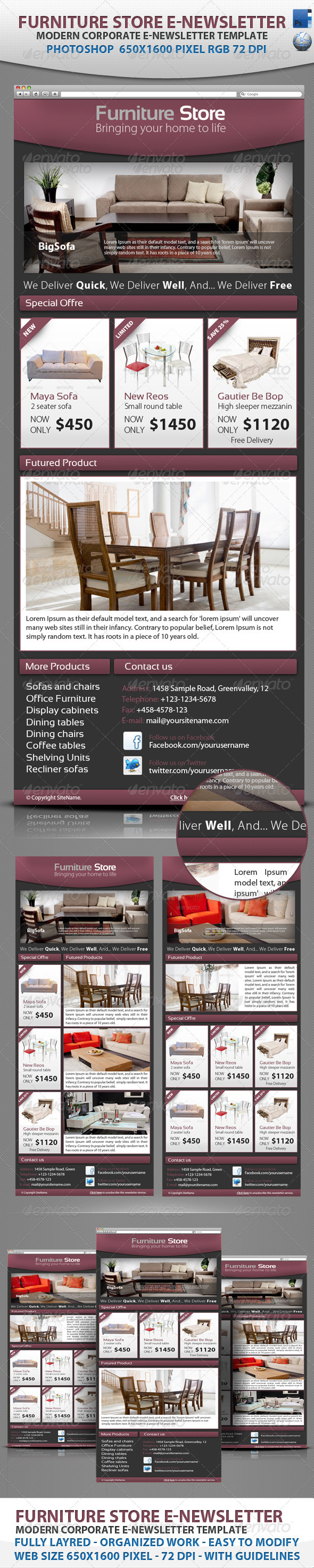Professional Furniture Store E-newsletter template - E-newsletters Web Elements