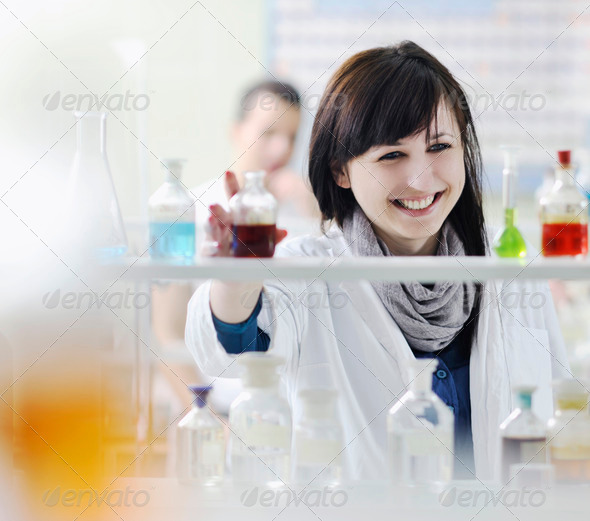 young woman in lab - Stock Photo - Images