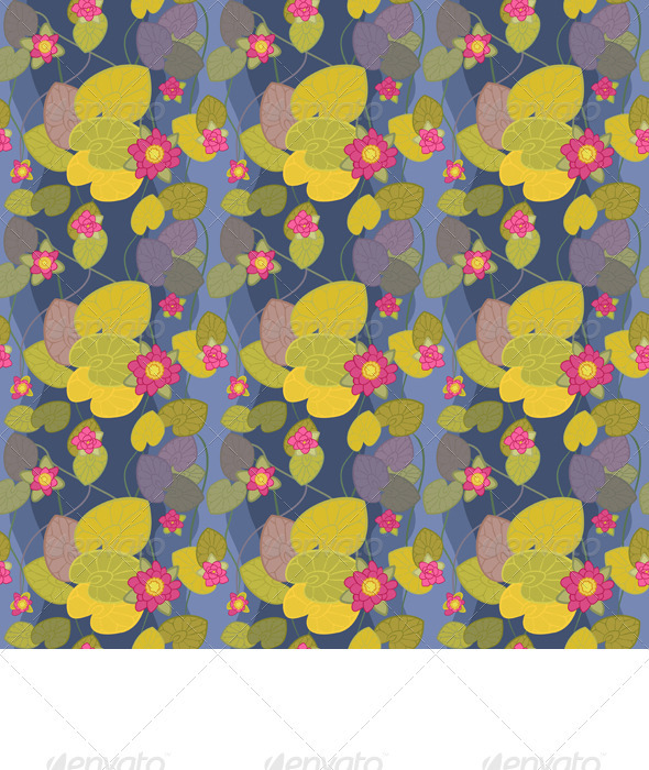 Seamless Pattern of a Beautiful Flower Pink Lotus - Patterns Decorative