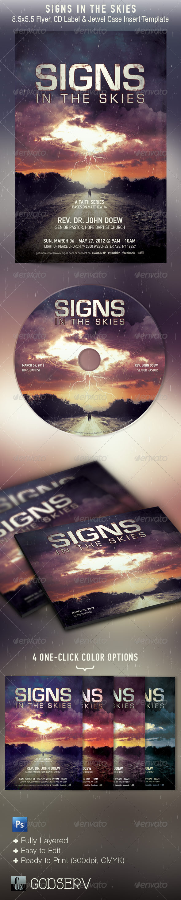 Signs In The Skies Church Flyer, and CD Template - Church Flyers