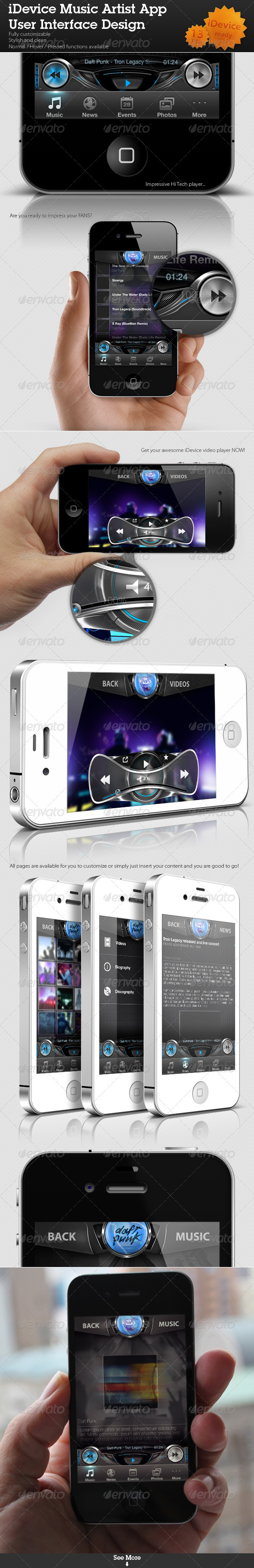 iDevice Music Artist App User Interface - User Interfaces Web Elements