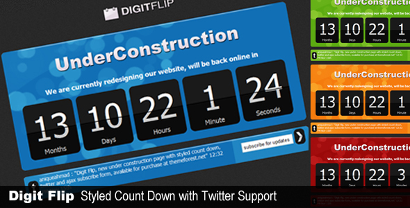 ThemeForest DigitFlip UnderConstruction with twitter 71445
