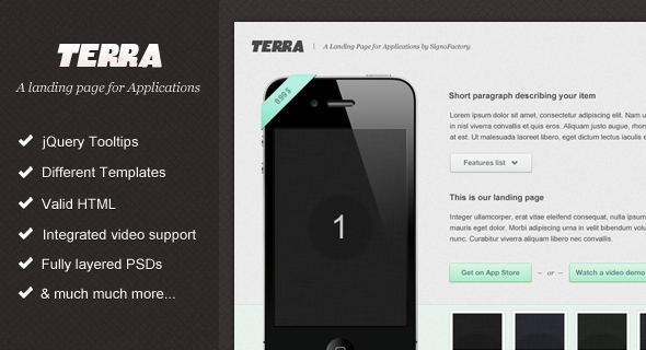 Terra - Landing page for Applications