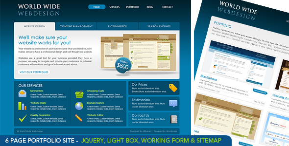 World Wide Webdesign - 6 Page HTML Site &amp; PSD