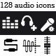 128 Audio / Music Application Icons: Black &amp;amp; White - GraphicRiver Item for Sale