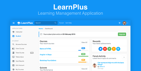 LearnPlus Learning Management Application by FrontendMatter – Quiz Website Template