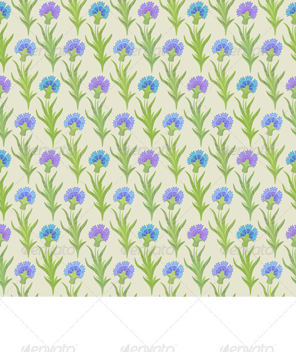 Vector Seamless Floral Pattern with Cornflowers - Patterns Decorative