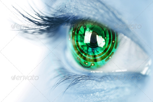 eye iris and electronic circuit - Stock Photo - Images