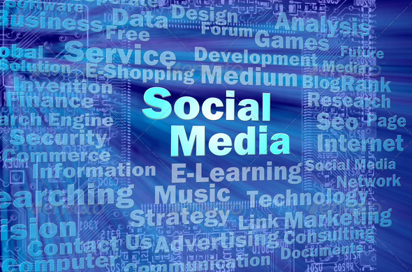 Social media concept in blue virtual space - Stock Photo - Images