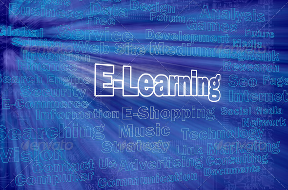 E-learning concept with internet related words - Stock Photo - Images